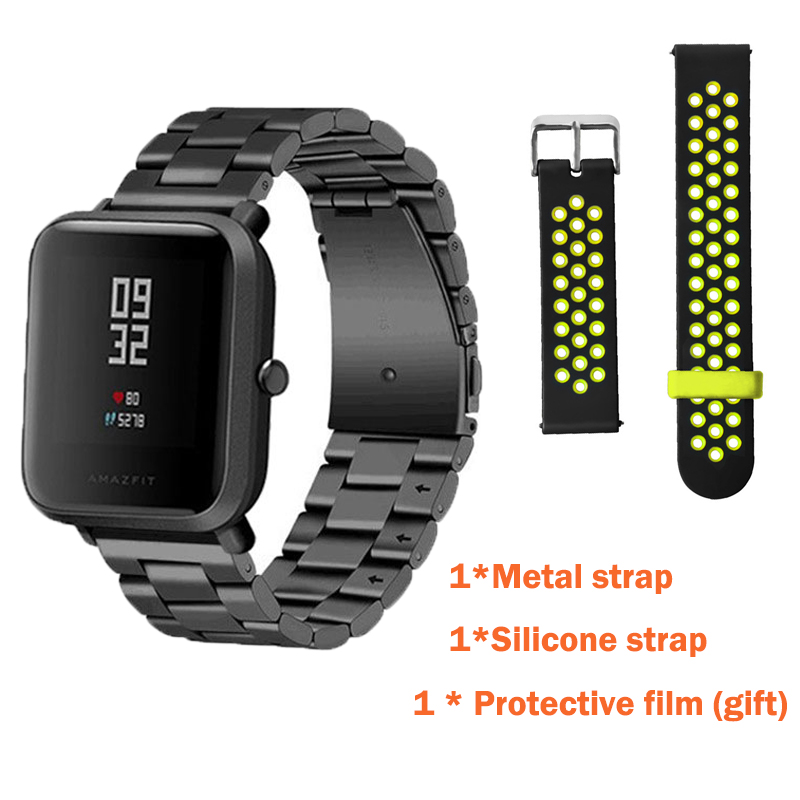 3in1 Metal strap+Double color band For Original Xiaomi Huami Amazfit Bip BIT PACE Lite Youth Smart Watch + Screen protector film xiaomi huami smart watch amazfit bip [english version] sports watch pace lite bluetooth 4 0 gps heart rate 45 days battery ip68