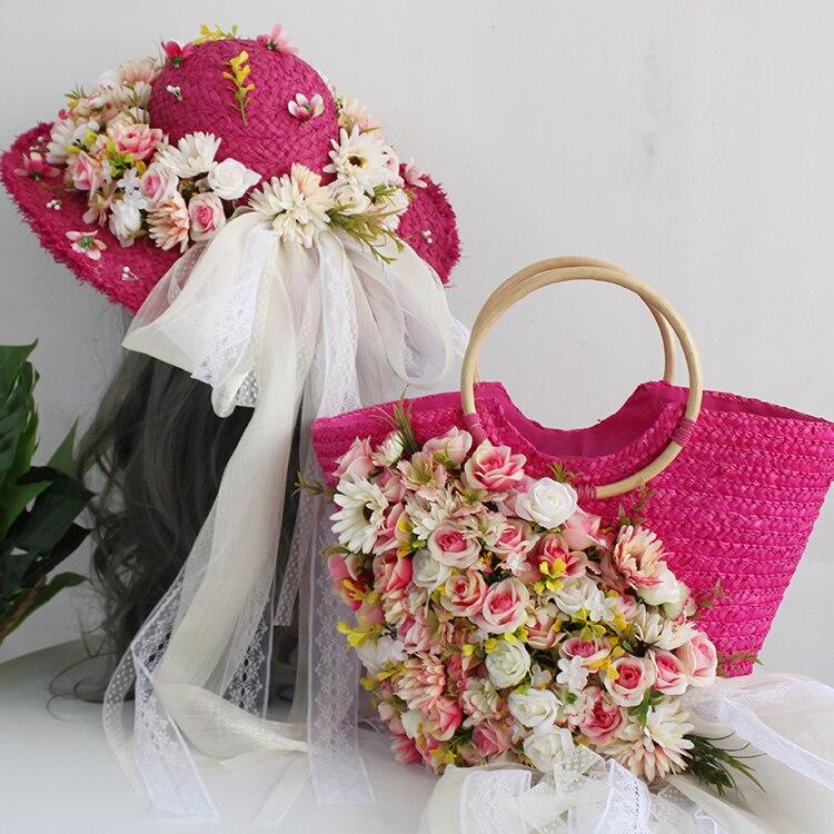 Vacances voyage mer sacs à main fleurs été chapeau de paille sac de plage, vacances voyage cadeau sac, courrier sac, sac à main Set sacs à main