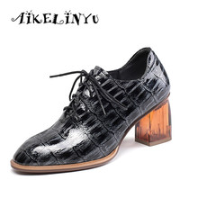 AIKELINYU Autumn Retro Women Genuine Leather High Heels Shoes Woman Square Head Vintage Comfort Office Pumps Ladies