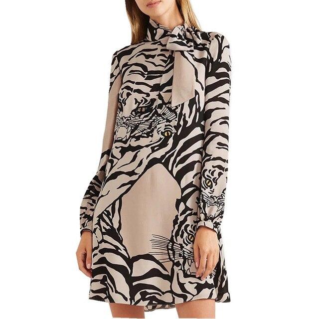 6939f0a5ca4 New 2019 Spring Runway Designer Tiger Pattern Print Mini Dress Women  Fashion Scarf Bow Collar Long Sleeve Beading Straight Dress