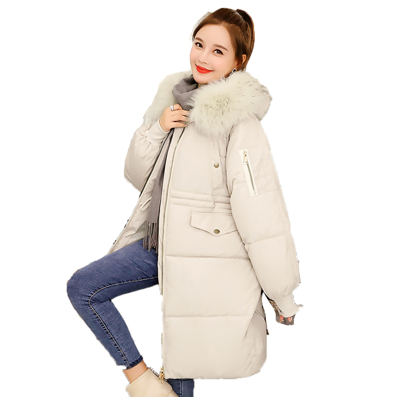 Winter   parka   2019 Europe and America M-3XL Plus size white gray black long sleeve casual thickening warmth clothing women JD376
