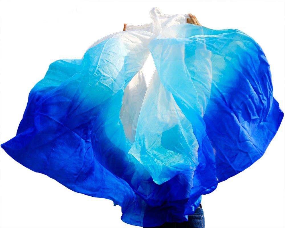 1 stück 100% echte seide schleier bauchtanz schleier bauchtanz zubehör 250*114 cm Sapphire royal blau + türkis + weiß Neue Arrivel