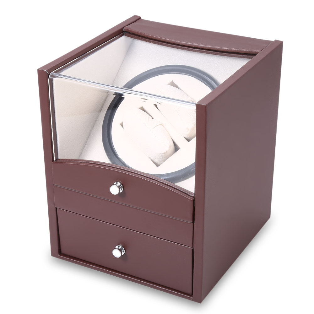 Brown Auto Rotation Watch Winder Two Grids Transparent Cover Cuboid Shape Wristwatch Box with Drawer jinbei em 35x140 grids soft box