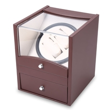 Brown Auto Rotation Watch Winder Two Grids Transparent Cover Cuboid Shape Wristwatch Box with Drawer