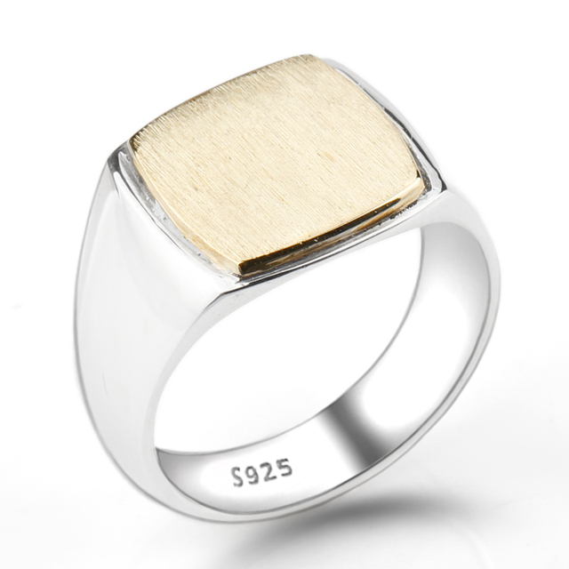 925 Sterling Silver Men Ring Simple Elegant Gold Color Square Plating Brushed Men Wedding Engagement Jewelry