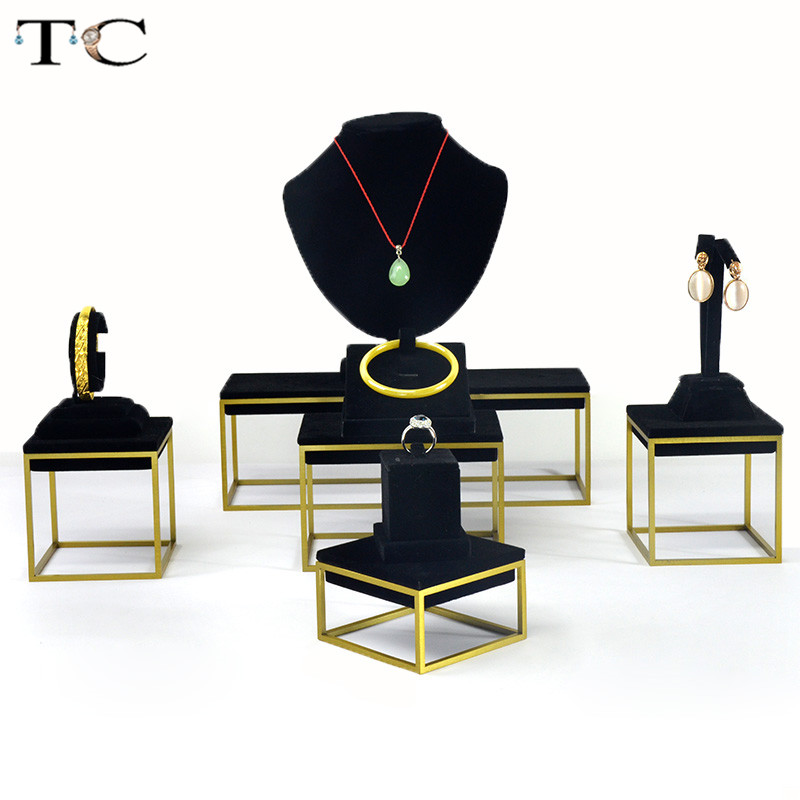 Stainless Steel Jewelry Display Necklace Showed Bracelet showcase Jewellery Display Black Velvet