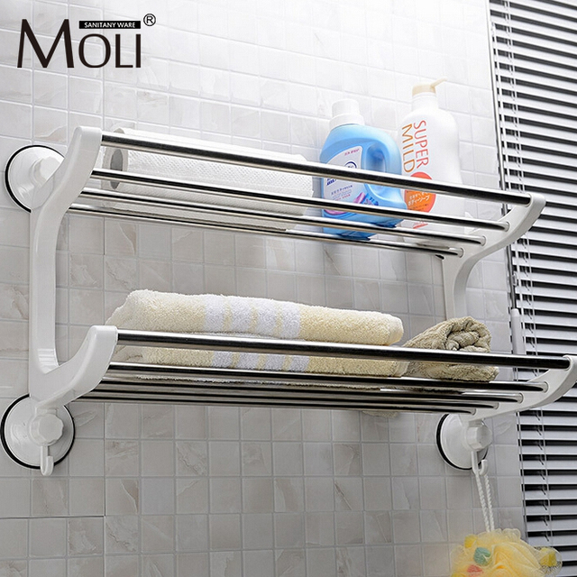 Plastic Stainless Steel Towel Holder Suction Cup Towel Rack With Hooks Wall  Suction Towel Shelf Bathroom