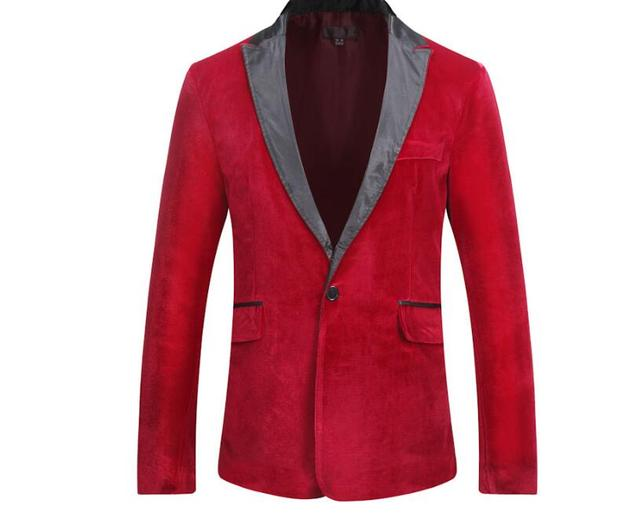Hombres Otoño Invierno terciopelo vino tinto moda ocio traje chaqueta novio  boda cantante Slim Fit Blazer 6c033611b7e