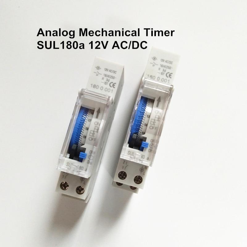 10 шт./лот Din Rail установки 220 V 230 V переменного или постоянного тока, работающего на постоянном токе 12 В в небольшой Ежедневно Программируемый таймер механический переключатель времени SUL180a с батареей