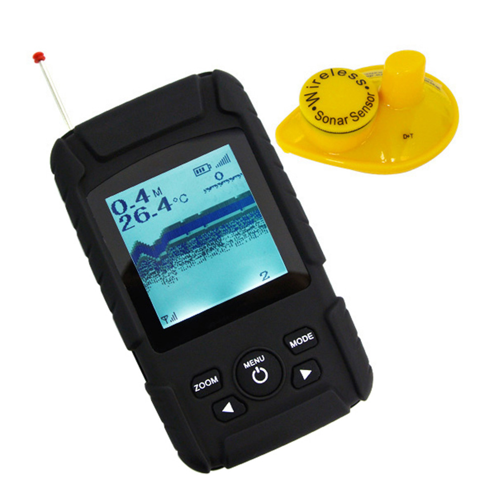 FF-718Li-W Rechargeable Battery LUCKY Waterpoof Wireless Fishfinder Portable 0.6-40M ( 2-131ft ) Sensor 125kHz Sonar Frequency эхолот скат два луча lucky ff 718 duo