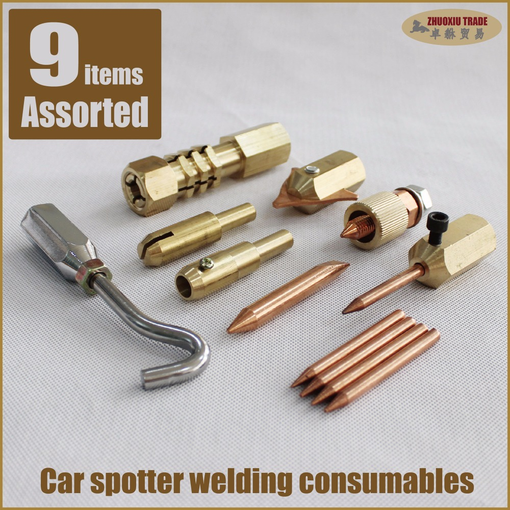 Car bodywork panel stud welder spotter dent puller pulling spot welding gun tools kit washer electrode tip earth earthing dents spot welding sheet metal tools spotter tools with slide hammer 393pieces ss 393