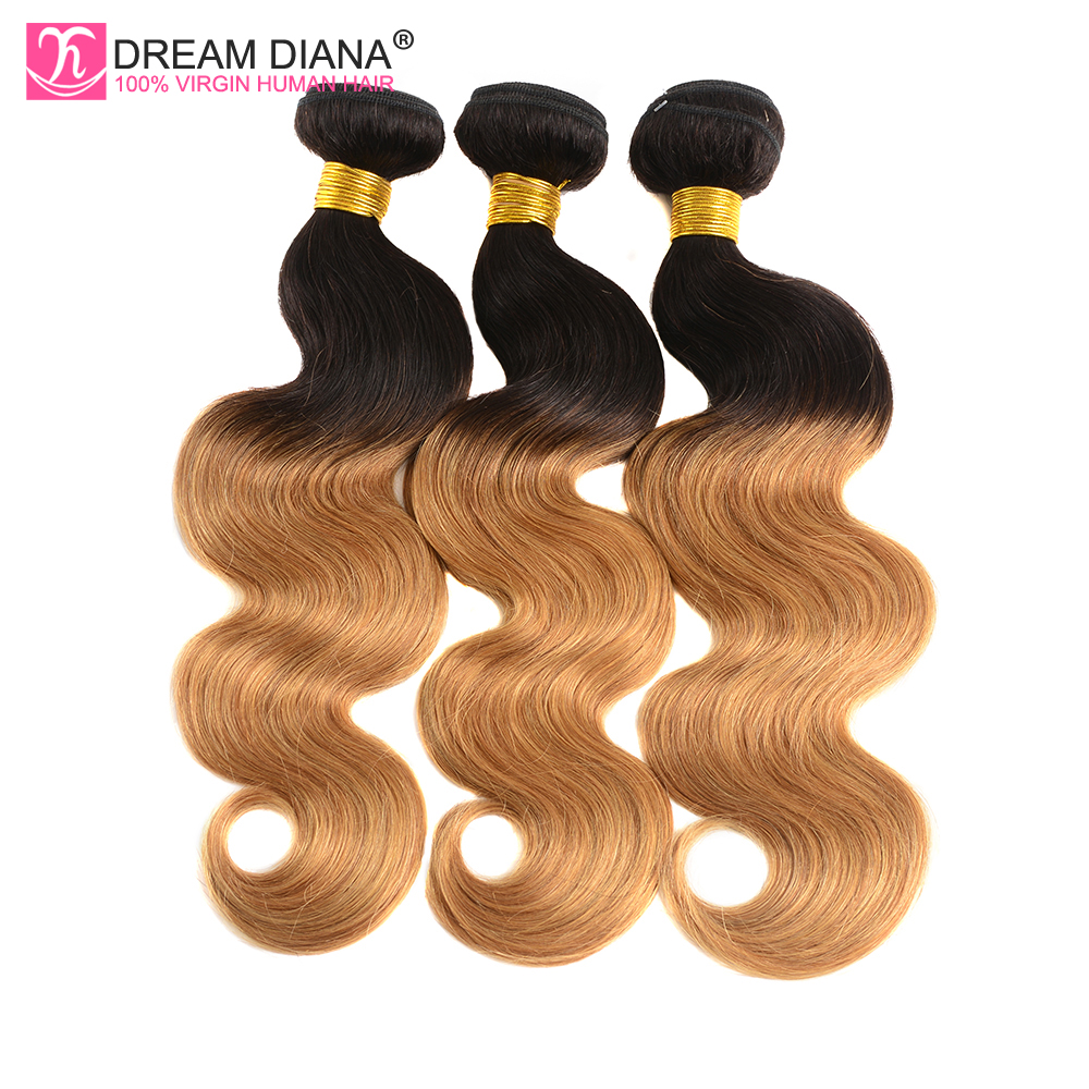 DreamDiana Two Tones Ombre Body Wave 1b 27 Wave Dark Roots Ombre 3 Bundles Peruvian Remy Colored Human Hair 4 Days Fast Delivery