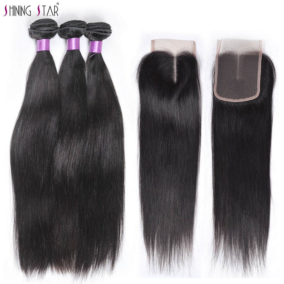 Shining Star 100% Human Hair Bundles With Closure Natural Brazilian Straight Hair 3 Bundles With Closure Non remy Hair Bundles-in 3/4 Bundles with Closure from Hair Extensions & Wigs    1