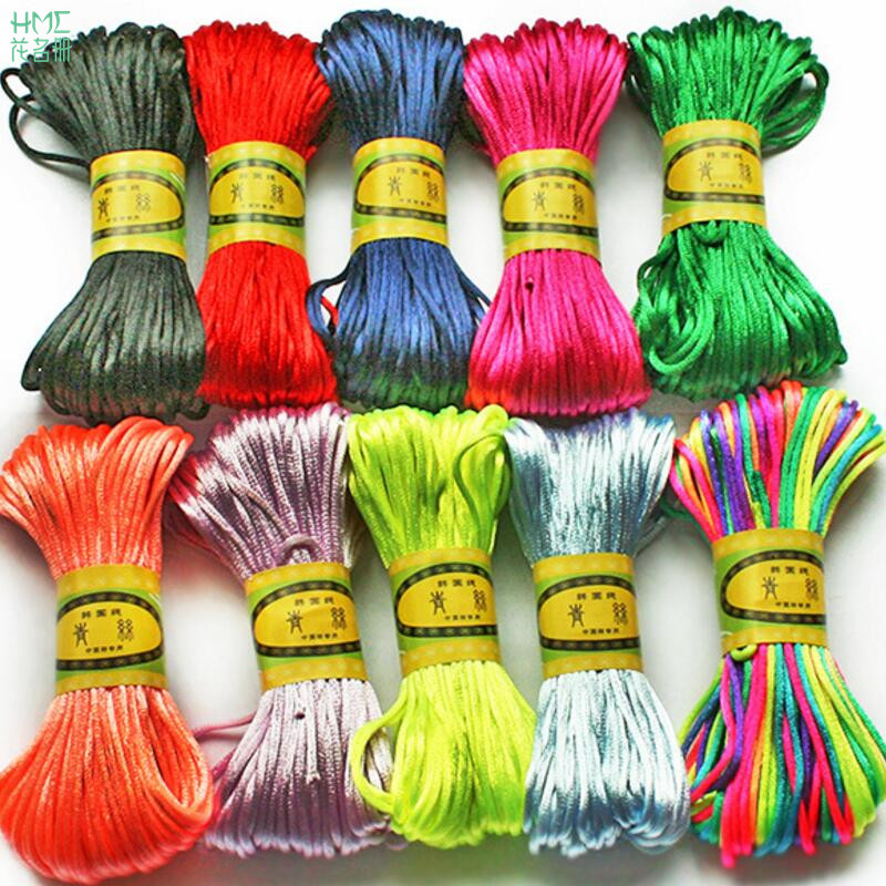 2mm 20meter Chinese Knot Cord Soft Satin Rattail Silk Cord Nylon For DIY Handicraft Tool ...