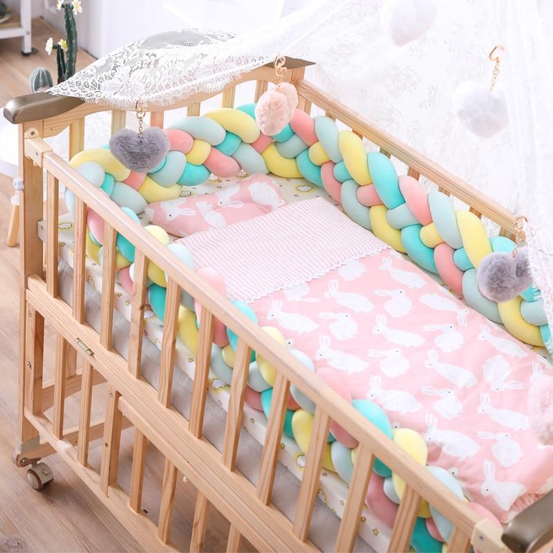 2M3M 4 Knot Soft Baby Bed Bumper Crib Sides 4 Braid 2 Meter Newborn Crib Pad