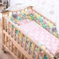 2M3M 4 nudo suave cama de bebé parachoques cuna lados 4 trenza 2 metros cuna recién nacido almohadilla de protección para bebé