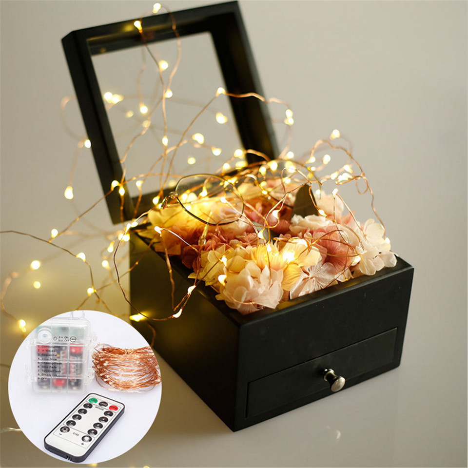 Christmas <font><b>light</b></font> 5/<font><b>10</b></font> m waterproof Remote control fairy <font><b>lights</b></font> USB battery operated decoration 8 mode <font><b>LED</b></font> timer chain copper wire image