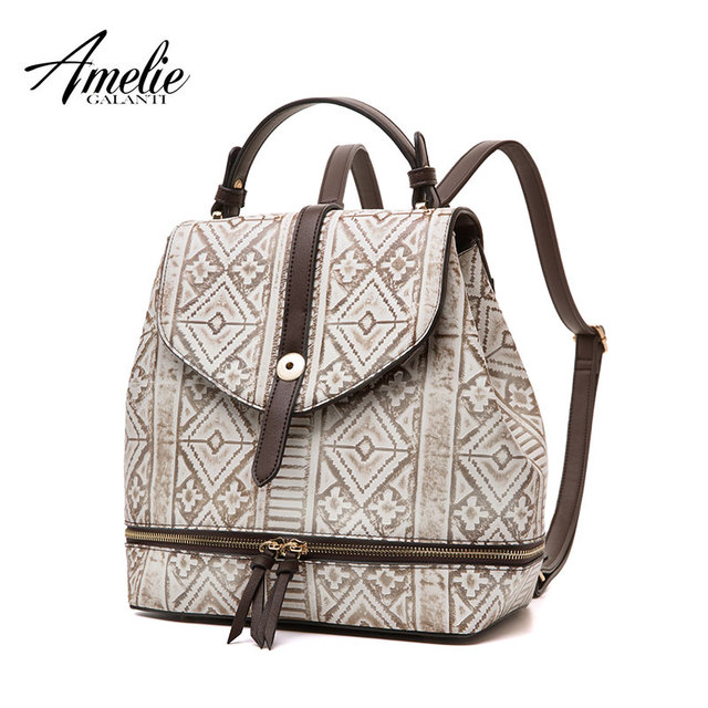 AMELIE GALANTI Women's Fashion Bag Backpack Ladies Leather Bag Designer Teenager School Bag with Tassel Shoulder Bag with Flap Fashion Backpacks