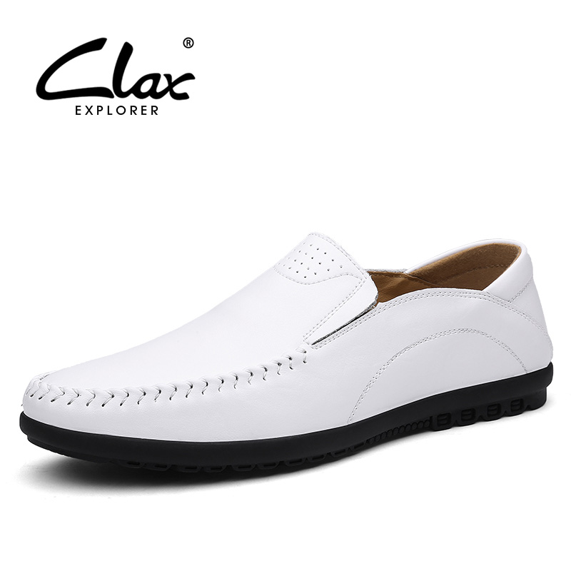 CLAX Men Loafers 2018 Spring Summer White Leather Shoes Slipony Male Fashion Casual Footwear Leisure Shoe Breathable Moccasion clax men s casual shoes fashion leisure shoe 2018 spring summer men leather footwear breathable handmade loafers sewing sole