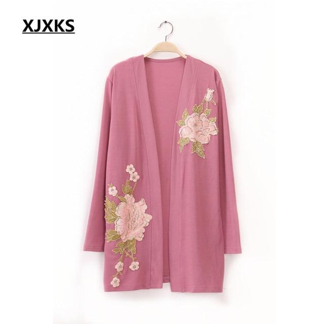 ba65afb5f169 XJXKS 2018 primavera outono senhoras blusa tricot cardigan moda para mulheres  de meia idade plus size