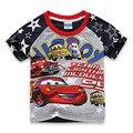 2016 New Cotton Curto-de Mangas Compridas Roupa Dos Miúdos Dos Meninos T-shirts Da Marca Do Carro Dos Desenhos Animados T camisa Padrão Crianças Roupas Meninos