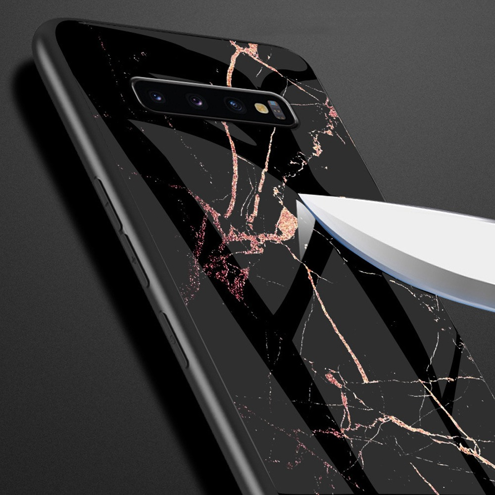 Marble Phone Case For Samsung Galaxy S8 S9 S10 Plus Tempered Glass S10 Lite Fashion For Samsung Galaxy Note 8 A Silicone Cover in Half wrapped Cases from Cellphones Telecommunications