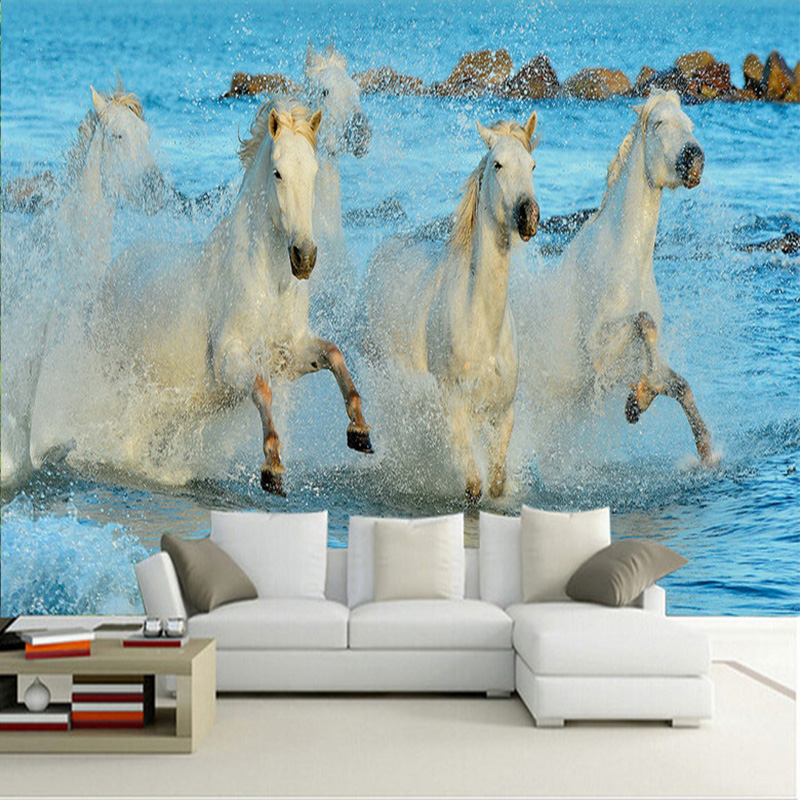 Photo Wallpaper Modern White Horse 	Spray 3D Wall Murals Classic Living Room Study Backdrop Wall Home Decor Papel De Parede Sala modern simple yellow flowers pearl photo wallpaper murals living room backdrop wall paper home decor papel de parede 3d paisagem