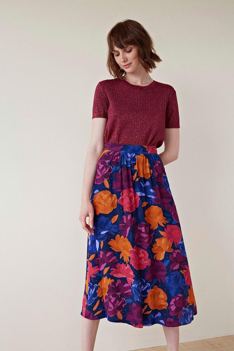 2019 New Women Oil Paint Flower Print Sweet Midi Skirt