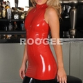 Women red tight latex dress
