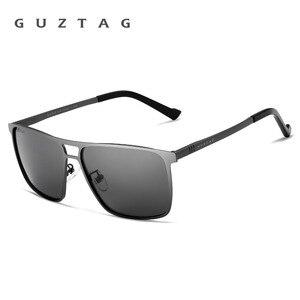 Image 2 - Guztagサングラスステンレス鋼の正方形男性/女性偏光ミラーUV400サングラス男性oculos G8029