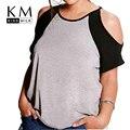 Kissmilk Плюс Размер Женщины Новая Мода Большой Большой Размер Холодный Твердый Серый Контраст Футболка Уличной Шеи Экипажа Футболка