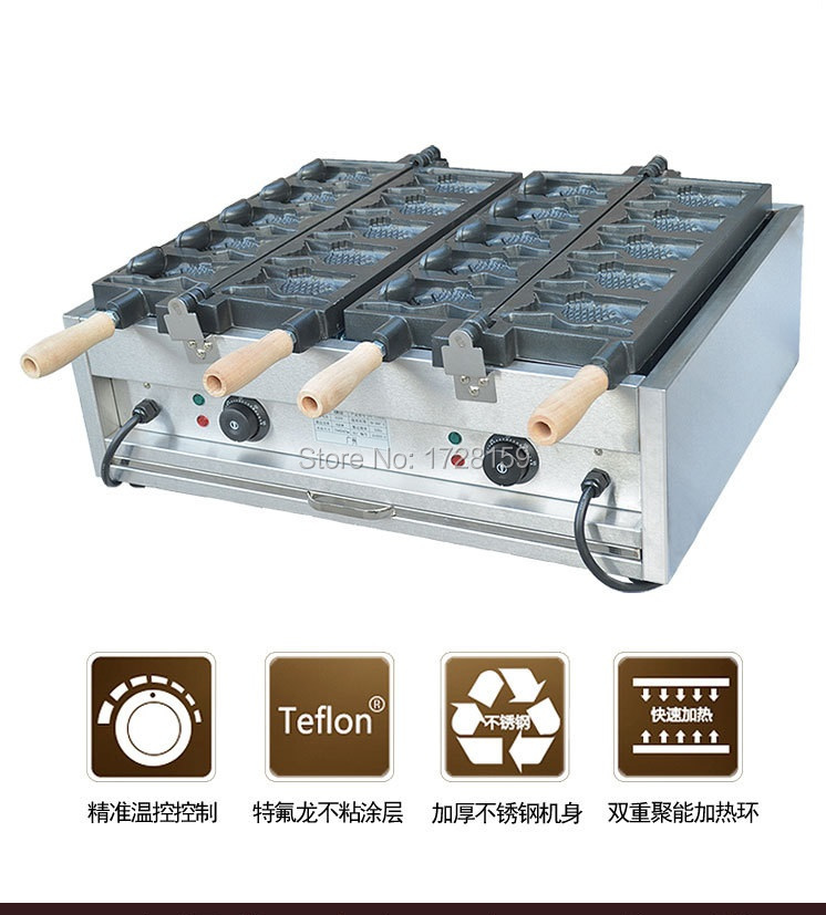 Professional 10 pcs 110V 220V electric open mouth fish taiyaki waffle making machine , ice cream fish waffle maker machine taiyaki maker with ice cream filling taiyaki machine for sale ice cream filling to fish shaped cake fish cake maker