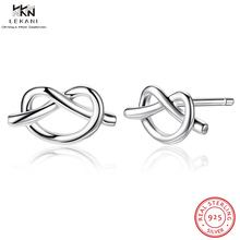 LEKANI Boucle D'oreille Femme 2018 Elegant And Exquisite Gift Earrings 925 Twisted Heart-Shaped Earrings Simple Stud Earrings simple heart stud earrings