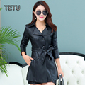4XL Plus size Women Leather Jackets Long Trench Coat with Waist Autumn Coat Green/Red/Black 615