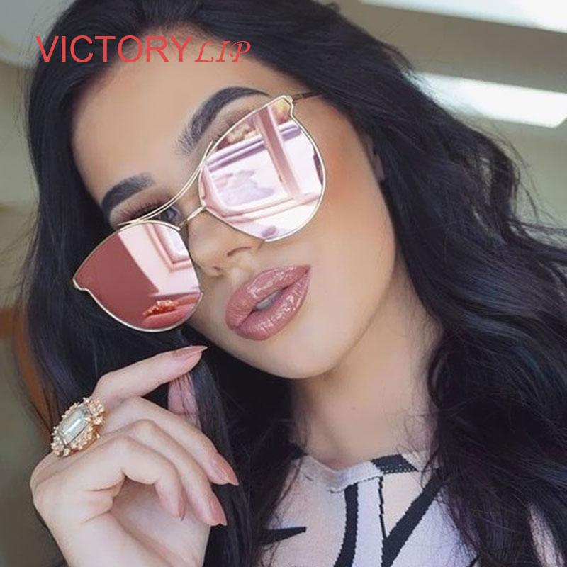 VictoryLip 2017 Gato Olho óculos de Sol Tendência das Mulheres Dos Homens  do Metal Do Vintage Marca Designer UV400 Óculos de Sol Senhora Fêmea  Transparente 85b8c0bb84