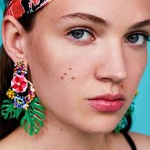 купить Monstera Ladies Dangle Earrings Hollow Green Leaf Pendants Za Design oorbellen Rhinestone Acrylic Drop Earrings ET996 дешево