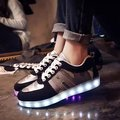 High top shoes led women casual shoes 2016 new arrival men luminous shoes flat with lace up solid rubber shoe