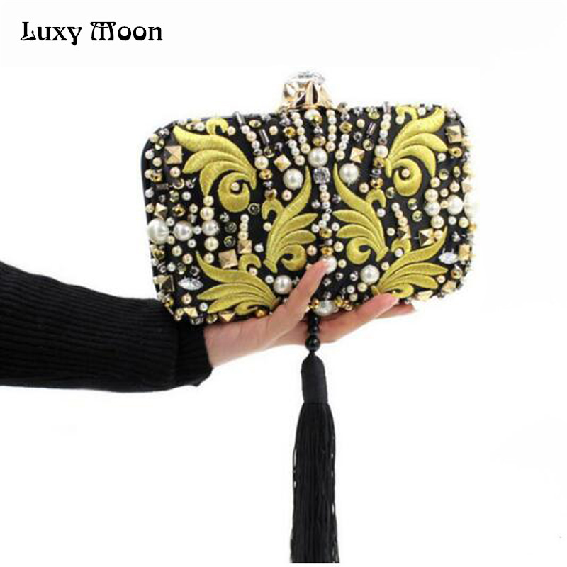 ФОТО Luxury Ladies Pearl Diamond Embroidery Bridal Evening Bag Small Matte Tassel Handbag Small Shoulder Messenger Bag Party ZD238
