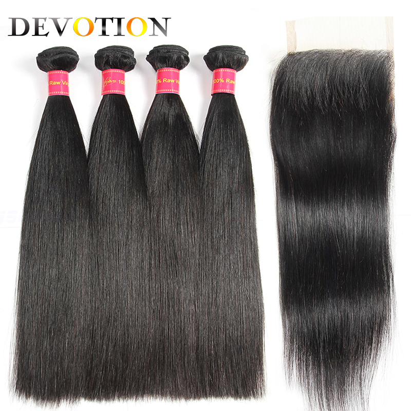 Devotion Hair Peruvian Straight 4 Bundles With Closure Free Part Human Hair Weave Bundles with Closure Non Remy Hair Extensions