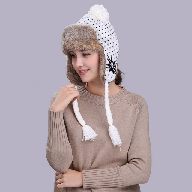 47aa562a87c KLV Warm Women balaclava Winter Hat with Ear Flaps Snow Ski Thick Knit Wool  Beanie Cap