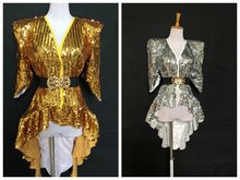 Sequined Shoulder Shiny Tuxedo Dress Costume Singer Guest DS Stage Rave Outfit Performance Costume Stage Costumes for Singers(China)