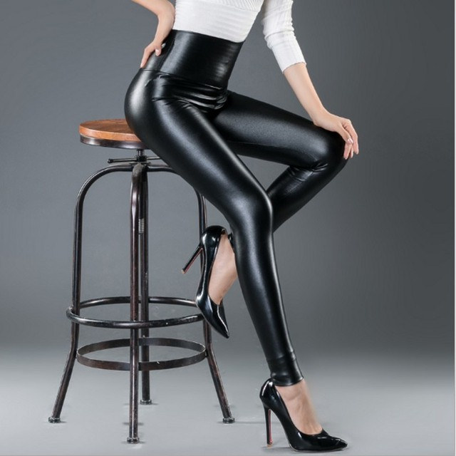 Womens PU Leather Pants High Elastic Waist Leggings Not Crack Slim Leather Leggings Fleece Trousers Women Fashion F80 40