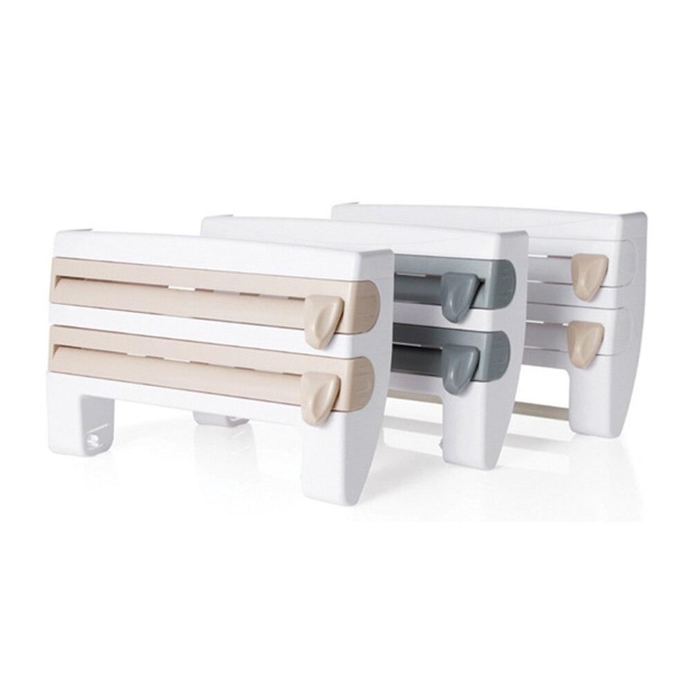 Multifunctional Wall Mounted Kitchen Cling Film Sauce Bottle Storage Rack Paper Towel Holder Kitchen Tool Designed Cutter