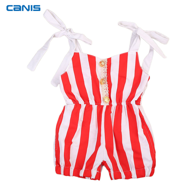 31f7857765e9 CANIS Infant Toddler Baby Girls Red Striped Romper Jumpsuit One-piece  Outfits Sunsuit Cotton Summer Clothes 0-24M Dropshipping