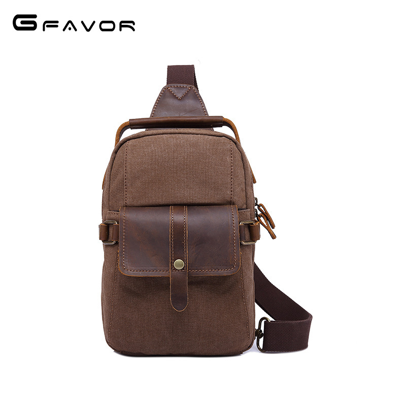 Vintage Canvas Chest Bag Men High Quality Crossbody Bag Casual Travel Shoulder Bag Fashion Crazy Horse Leather Zipper Chest Bag vintage canvas chest bag men new crossbody shoulder bag multifunction casual travel bag fashion large capacity chest bag for men