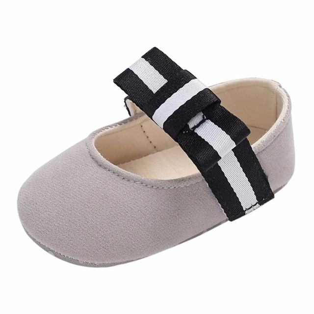 f8427bfdb0f5 Home   Baby Girls Princess Shoes Infant Toddler Crib Bebe Kids First  Walkers Mary Jane Striped Big Bow Soft Soled Anti-Slip Dress. Previous. Next