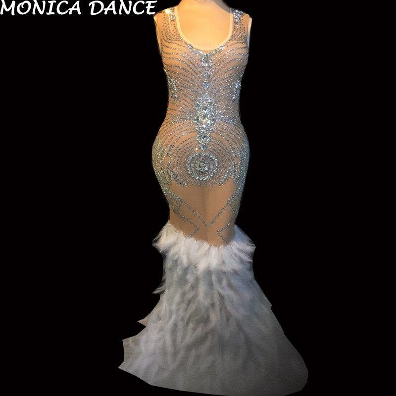 Maille La Voir Sexy À Dress Chanteur Soirée D'anniversaire Costume Scintillant De Plumes Strass Femmes Célébrer Tenue Travers Robe xhrCtsQd