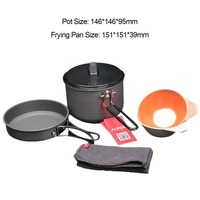 ALOCS CW C26 Fast Heating Outdoor Camping Cookware Camping Pot Frying Pan Bowl Set Outdoor Survival Tools For 1 3 Persons Hot