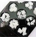 60 UNIDS Blanco 3d acrílico decoración de uñas de resina de flores suministros de uñas accesorios del teléfono celular Al Por Mayor