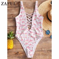 ZAFUL Sexy Flamingo Print One Piece Bathing Suit High Cut Swimsuit Women One Piece Swimwear 2018